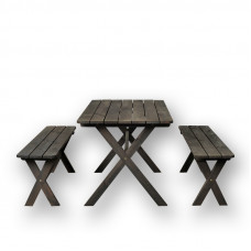 SET  OF 2 BENHES AND TABLE 1,2m
